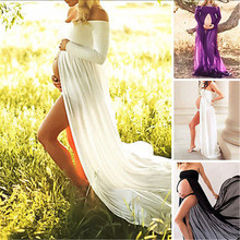 Elegant Maternity Photography Props Pregnancy Clothes Maternity Stretchy Sexy lash Neck Maxi Dresses Women Photo Shoot Clothing