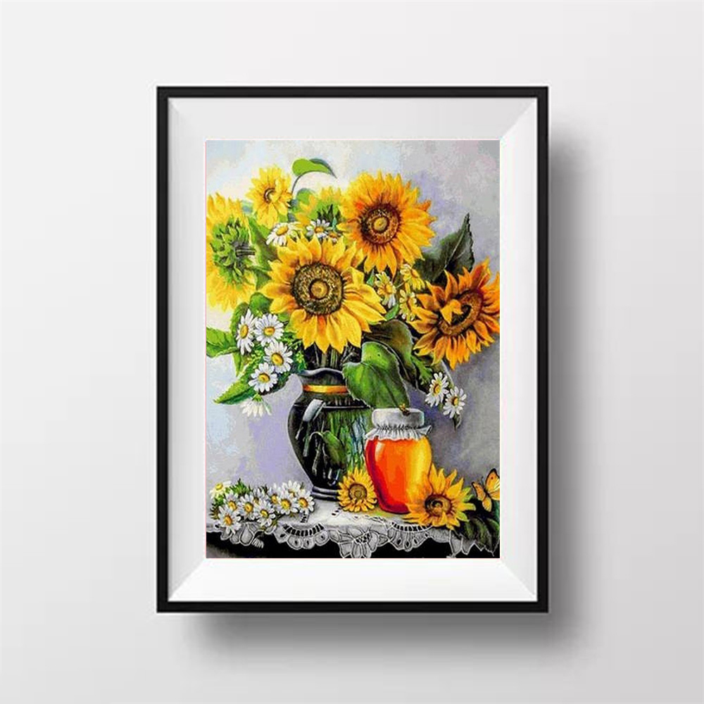 Diamond Embroidery Sunflowers 5D DIY Kit Needlework Diamond Painting Full Square Cross Stitch Rhinestones Mosaic Home Decoration