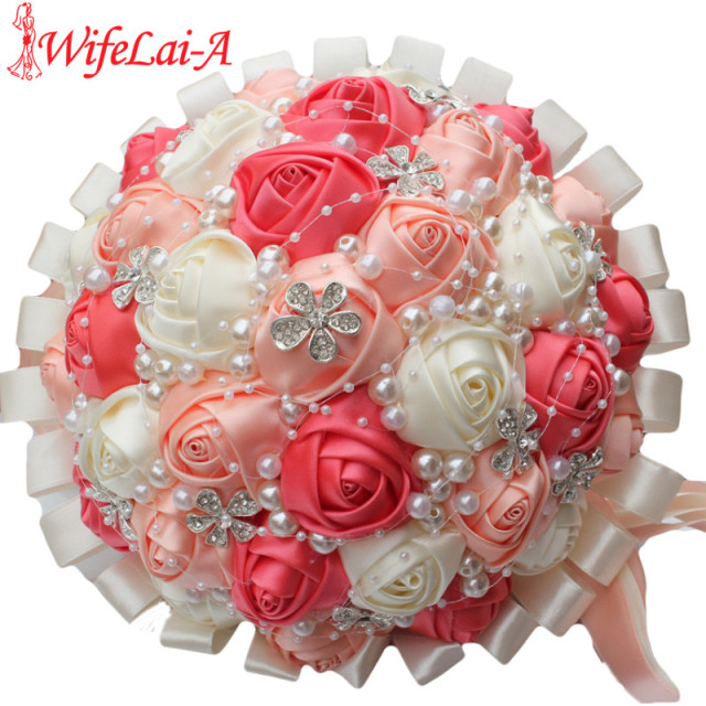WifeLai A Coral Pink Ivory Champagne Crystal Satin Artificial     WifeLai A Coral Pink Ivory Champagne Crystal Satin Artificial Flowers Ribbon  Wedding Bridal Bridesmaid Bouquet Flowers