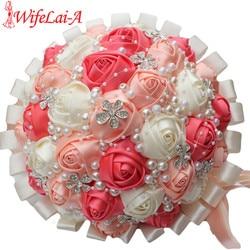 WifeLai-A Coral Rosa marfil champán cristal satén flores artificiales cinta Boda nupcial y dama de honor ramo flores W224A