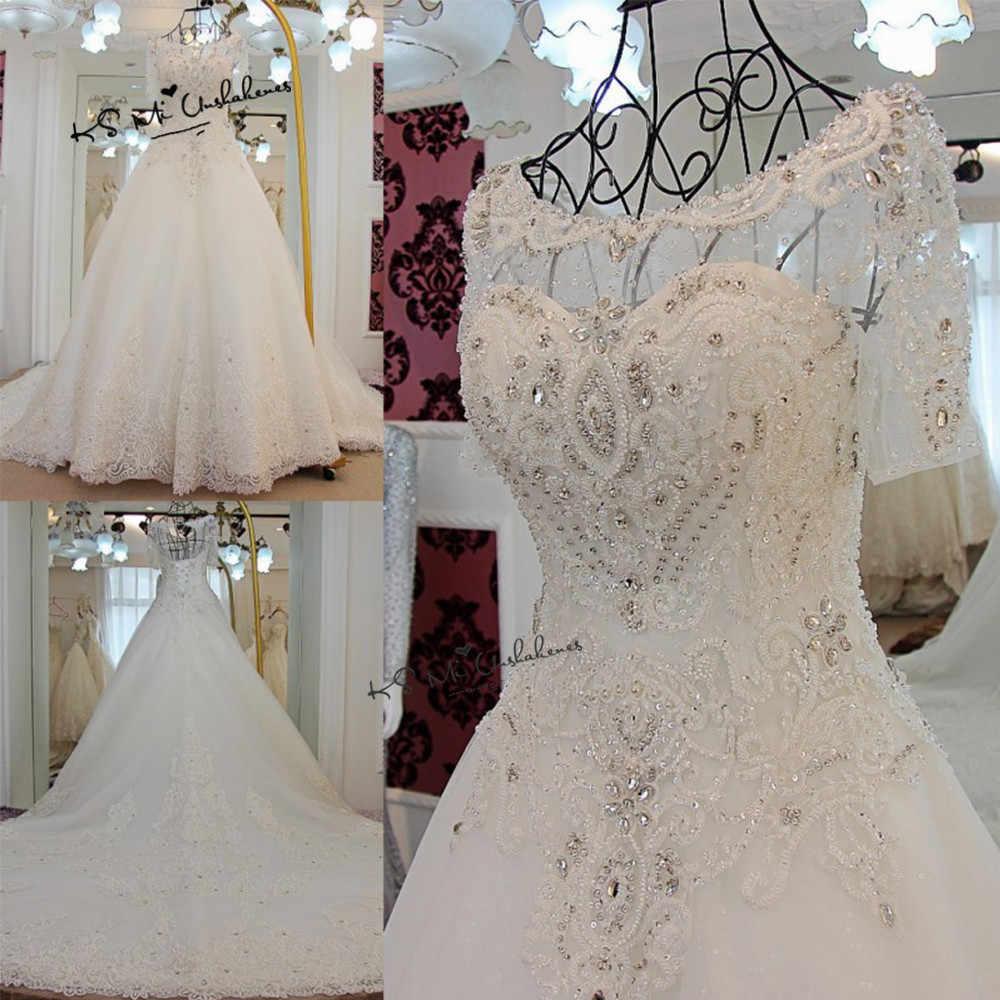 Vestido de Noiva Luxury Wedding Dress 2018 Short Sleeve Crystals Rhinestones  Wedding Gowns Lace Long Train 6599af4c1a54