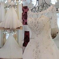 Vestido de Noiva Luxury Wedding Dress 2018 Short Sleeve Crystals Rhinestones Wedding Gowns Lace Long Train Bride Dresses Church