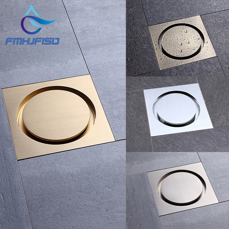Free Shipping Bathroom Accessories 10cm 10cm Floor Drain 4 colors Square Shaped