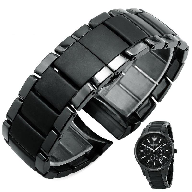цена на Black arc ceramic belt ar1451 | AR 1452 ceramic watch belt waterproof sweat resistant sports leisure watch band 22mm 24mm