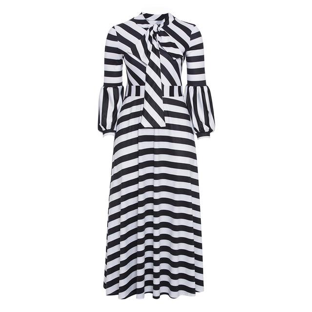 Plus Size Dress Women Lantern Long Sleeve Bow Tie Collar Black And