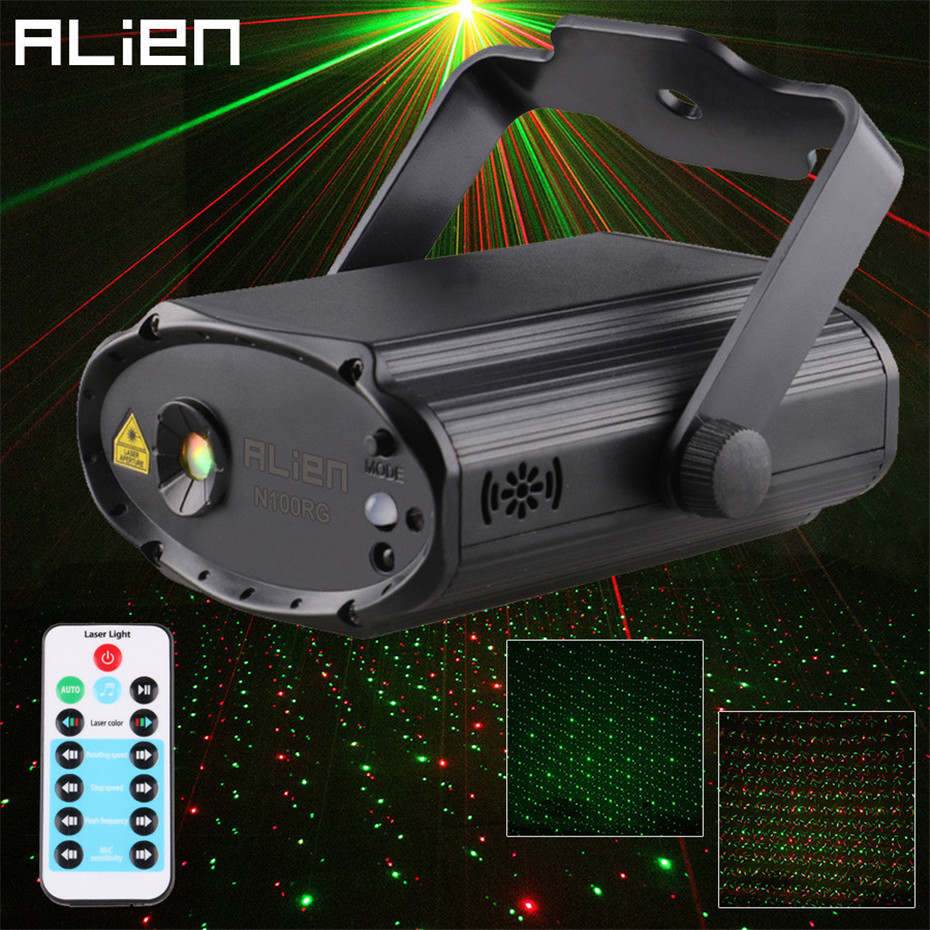 ALIEN Remote Red Green Star Dots DJ Party Disco Laser Light Projector Dance Sound Activated Stage Decorate Lighting Effect