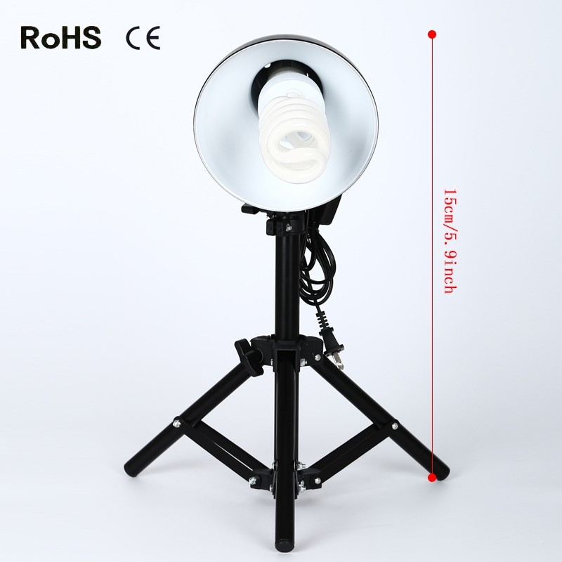 Product Photography Fluorescent Lamp Lighting Kit With 50cm flat head light stand - [CFL][Lamps and Bulbs Included]