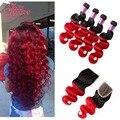 Brazilian Body Wave 3 Bundles With Closure 99J Red Hair Burgundy Ombre Brazilian Hair With Closure Ombre Human Hair With Closure