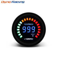 Dynoracing 252mm 12V Car Auto Digital Smoked Tachometer 0~10000 RPM 20 LED Light Display Tacho Car Meter BX101449 2 52mm car tachometer blue digital led electronic 0 9999 rpm auto tacho gauge 2 inch automobile instrument 12v black