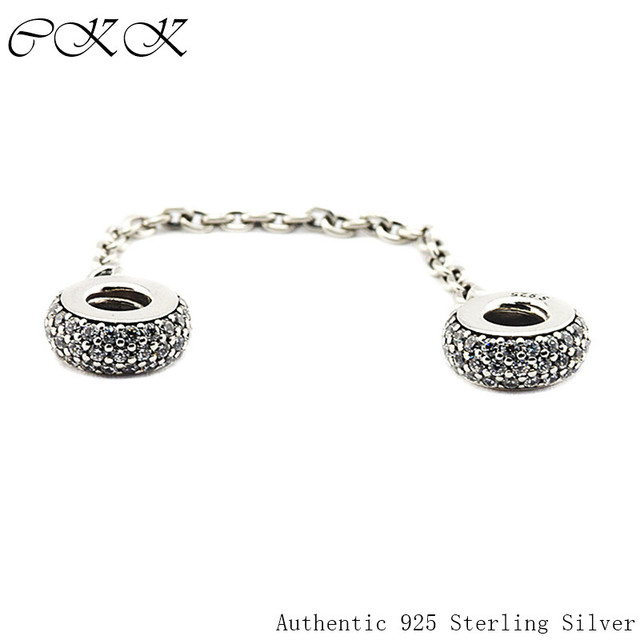 Beads for Jewelry Making 100% 925 Sterling Silver Pave Inspiration Safety Chain