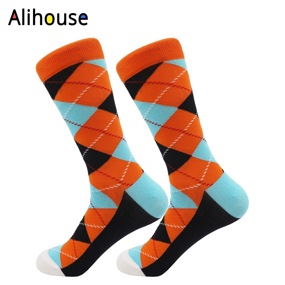 Alihouse Happy Socks Cotton Men Socks Colorful Dress Knit Long Funny Socks Breathable Spring Autumn Socks