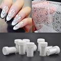 10 Rolls/Lot Nail Art Transfer Foil Sticker White Design Lace Rose Flower Floral Tips Decoration Polish Manicure Tools Decal Set