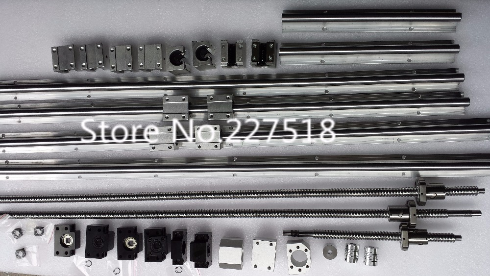6 sets linear rail SBR16 L400/700/800mm+SFU1605-350/600/750/750mm ball screw+4 BK12/BF12+4 DSG16H nut+4 Coupler for cnc 6 sets linear rail sbr16 l300 900 1100mm sfu1605 300 900 1100mm 1100mm ball screw 4 bk12 bf12 4 dsg16h nut 4 coupler for cnc