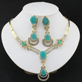African fashion wedding jewelry set Gold plated Charm women summer clothing accessories days blue crystal wholesale 2016