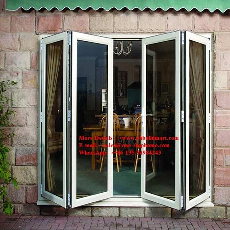 Aluminum Folding Door For Restaurant,Wood Color Surface Treatment Aluminium Profile Series Glass Folding Doors For Balcony Door