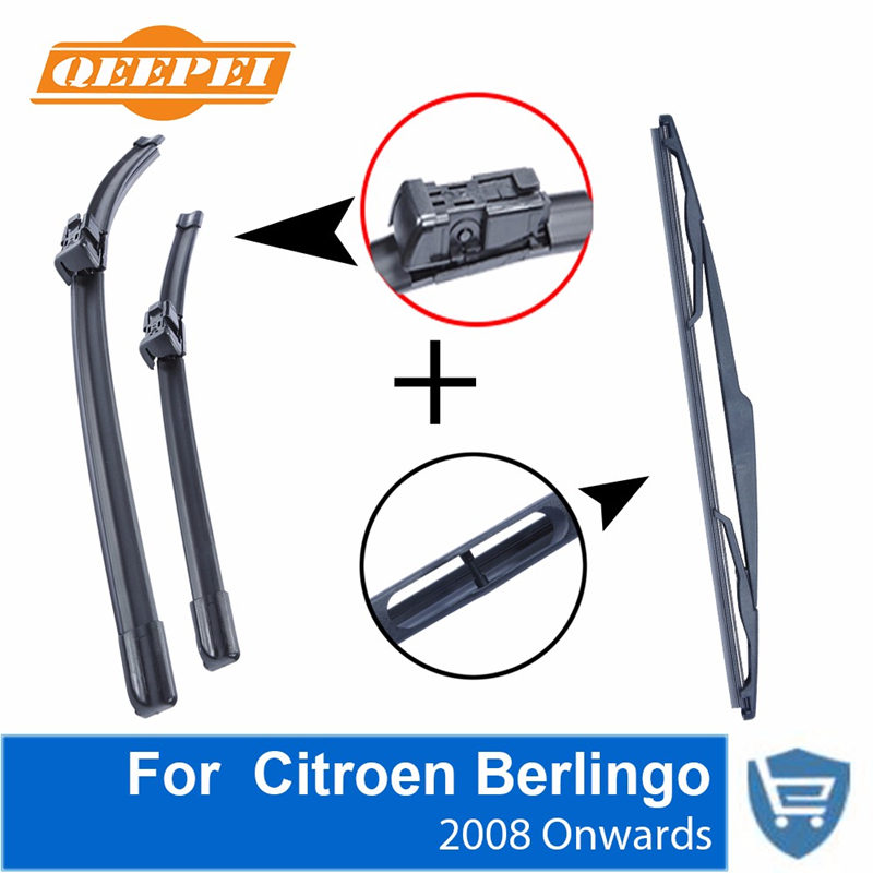 Qeepei Front and Rear Wipers no Arm for <font><b>Citroen</b></font> <font><b>Berlingo</b></font> <font><b>2008</b></font> High Quality Natural Rubber Windscreen 26 '' + 16 '' image