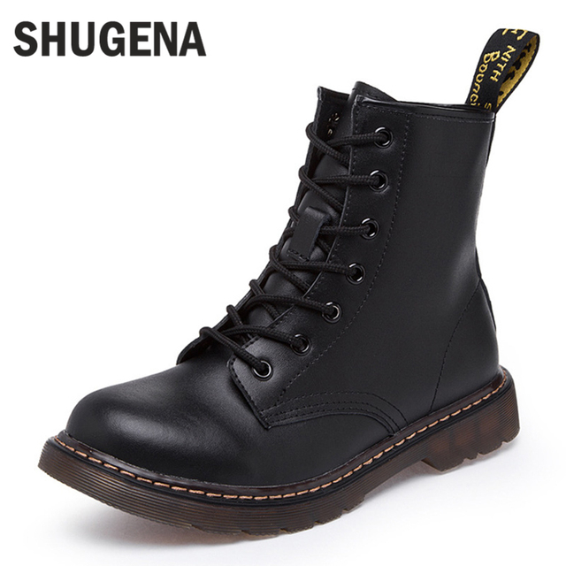 2017 Genuine leather women martin boots winter warm shoes botas feminina female motorcycle ankle fashion boots women botas mujer
