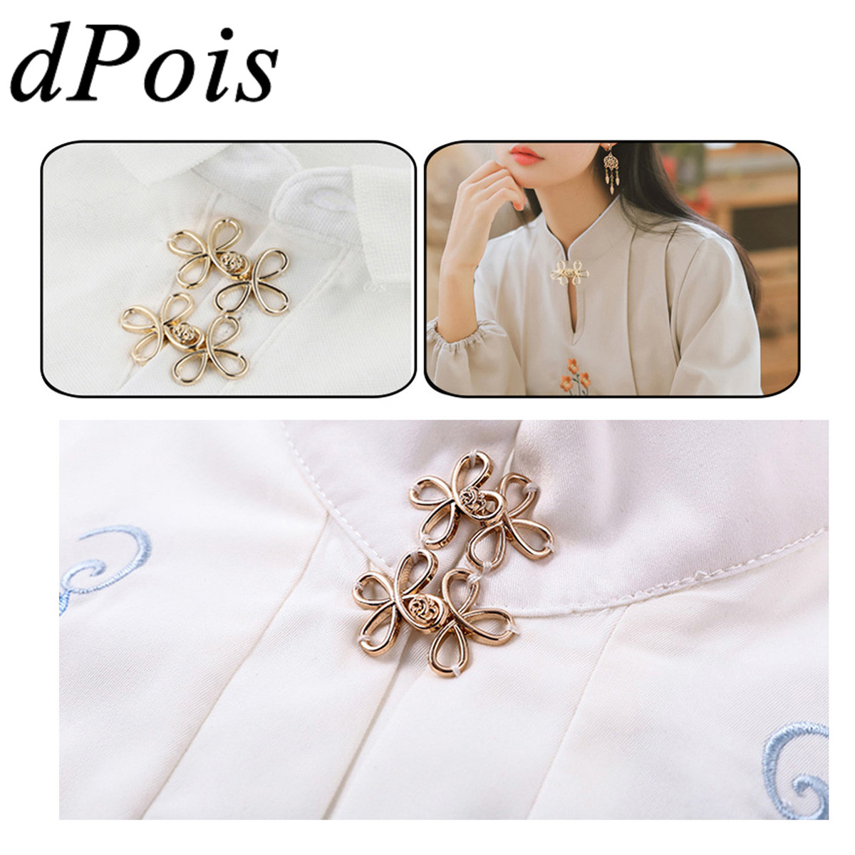 5 Pairs Chinese Knots Shaped Cape Cloak Clasp Fasteners Sweater Cardigan Blouse Shirt Collar Clip Women Girls Scarf Shawl Brooch