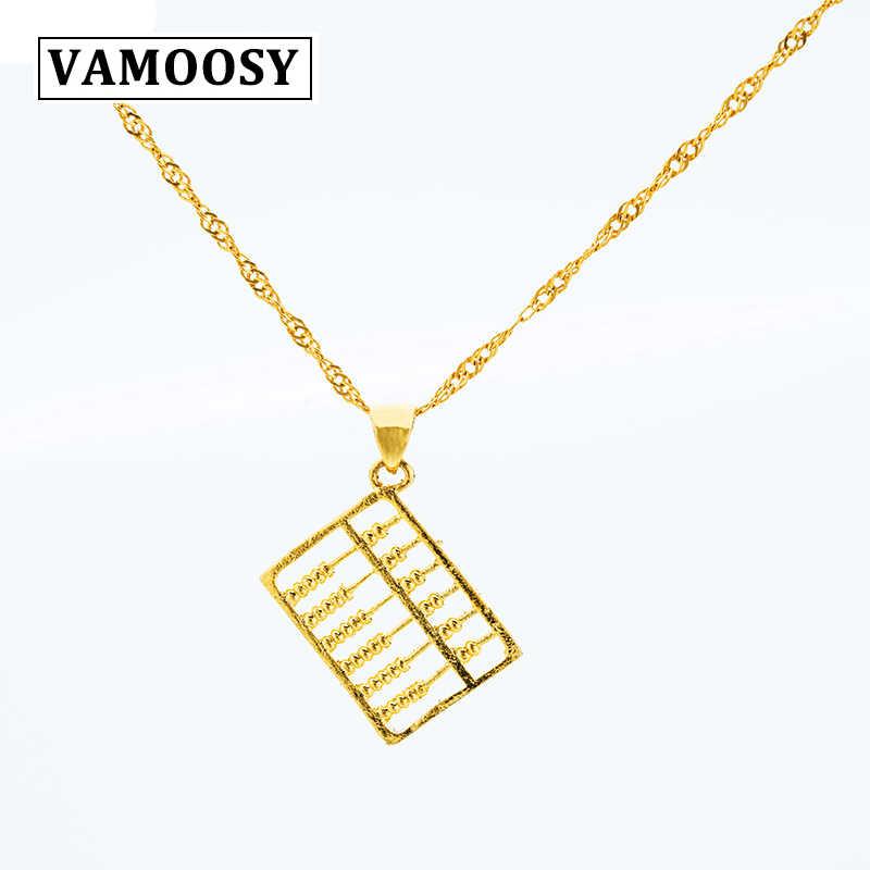 VAMOOSY 24 k ゴールドカラーペンダント銅そろばん自由奔放に生きる中国スタイルのジュエリーラッキー風水前兆女性男性子供のため愛好家ギフト