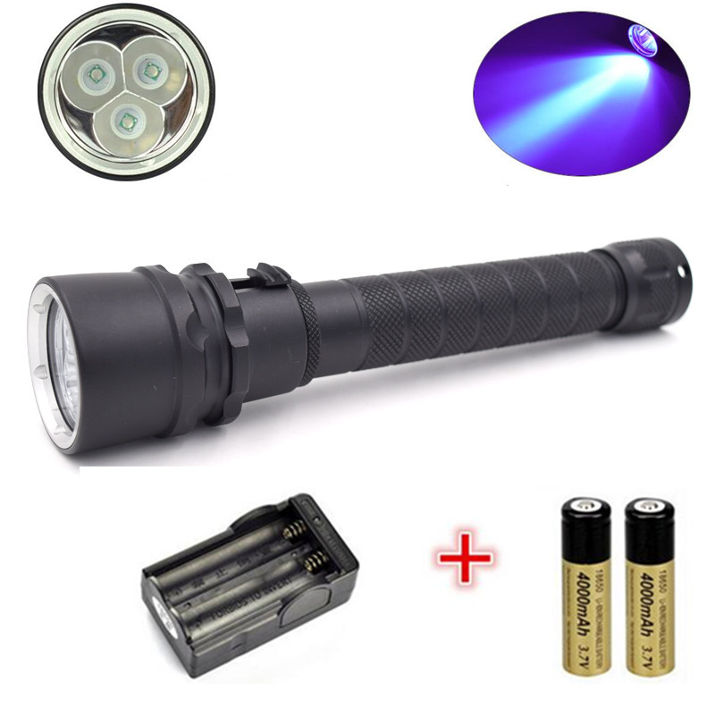 ФОТО UV-Ultraviolet Led Flashlight 18650 10W UV Diving  Flashlight Torch Lamps For Features Money Detector +2x battery + Charger
