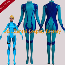 Free Shipping DHL Women Blue Zero Mission Samus Aran Lycra Spandex Superhero Zentai Catsuits For 2016 Halloween Costume SHS411