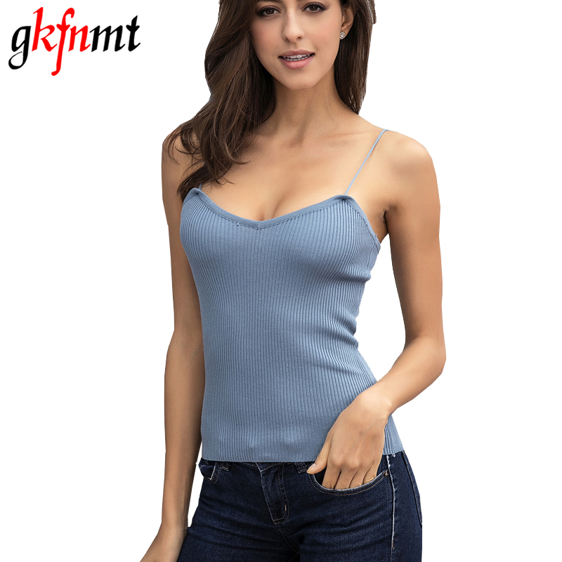 Gkfnmt Top Women 2017 Sommar Toppar Camis Femme Stickade Blusar Bomull Vest Kvinnor Off Shoulder Solid Sexy Backless Tops Tees