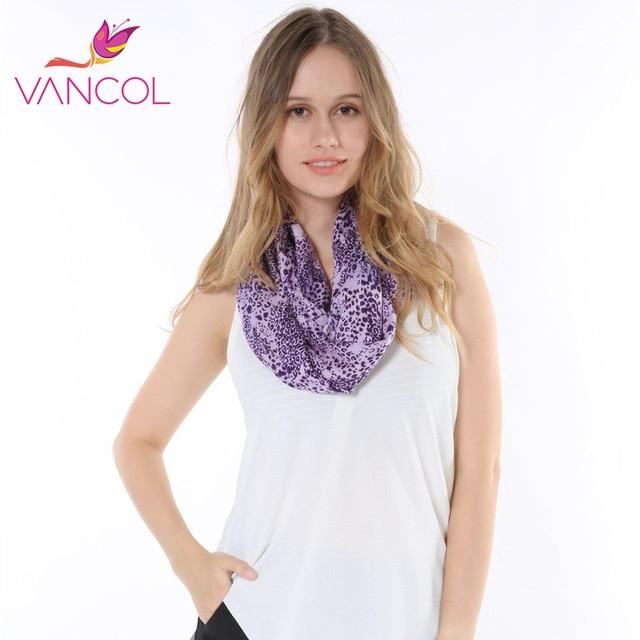Vancol Brand Designer 2016 Spring Women Infinity Purple Leopard Cotton Scaves Loop Wrap Bufandas Cachecol Feminino Voile Scarf