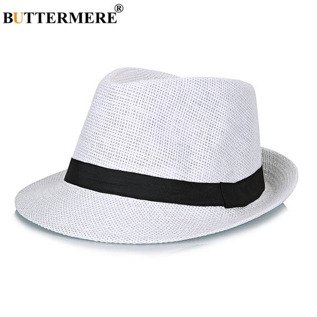 d8fd97d590 placeholder BUTTERMERE Straw Fedora Hats Mens Navy Blue Vintage Summer  Beach Hat Ladies Casual England Style Designer