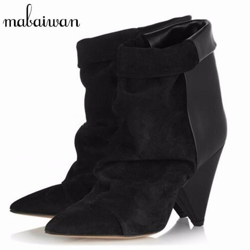 Mabaiwan 2017 Ankle Boots for Women Genuine Leather Short Booties Spike High Heel Boots Women Pumps Autumn Winter Wedge Shoes strange heel women ankle boots genuine leather elastic booties wedge shoes woman high heels slip on women platform pumps
