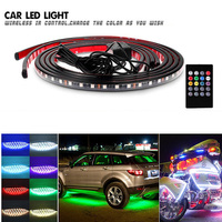 4Pcs Car LED Underglow/Glow/Undercar Lights Kit Interior Dash Lights Strip RGB Multicolor Neon Underbody System Lights With 2018