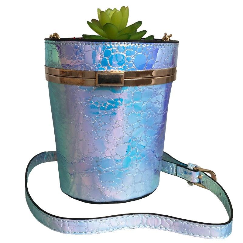 2018 Laser PU seau sacs personnalité créative plantes succulentes or chaîne + PU bretelles diagonale sac à bandoulière