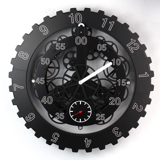 Free EMS/DHL Large Gears Mechanical Wall Clock Rotation Multi-function Mechanical Gear Clock Creative Home Decorative Wall Clock