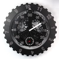 Free EMS/DHL Large Gears Mechanical Wall Clock Rotation Multi function Mechanical Gear Clock Creative Home Decorative Wall Clock