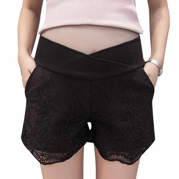 Fdfklak בהריון נשים קיץ 3 סגנונות יולדות מכנסיים נמוך מותן שחור/לבן אפור תחרה הריון מכנסיים M-XXL f306