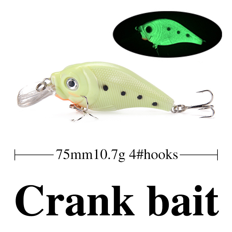5PCS Luminous Night Fishing Hard Bait Crankbait 7 6 10 7g 7 9cm Crank Bait Wobbler with Noctilucent Effect Lure Fishing Tackle in Fishing Lures from Sports Entertainment