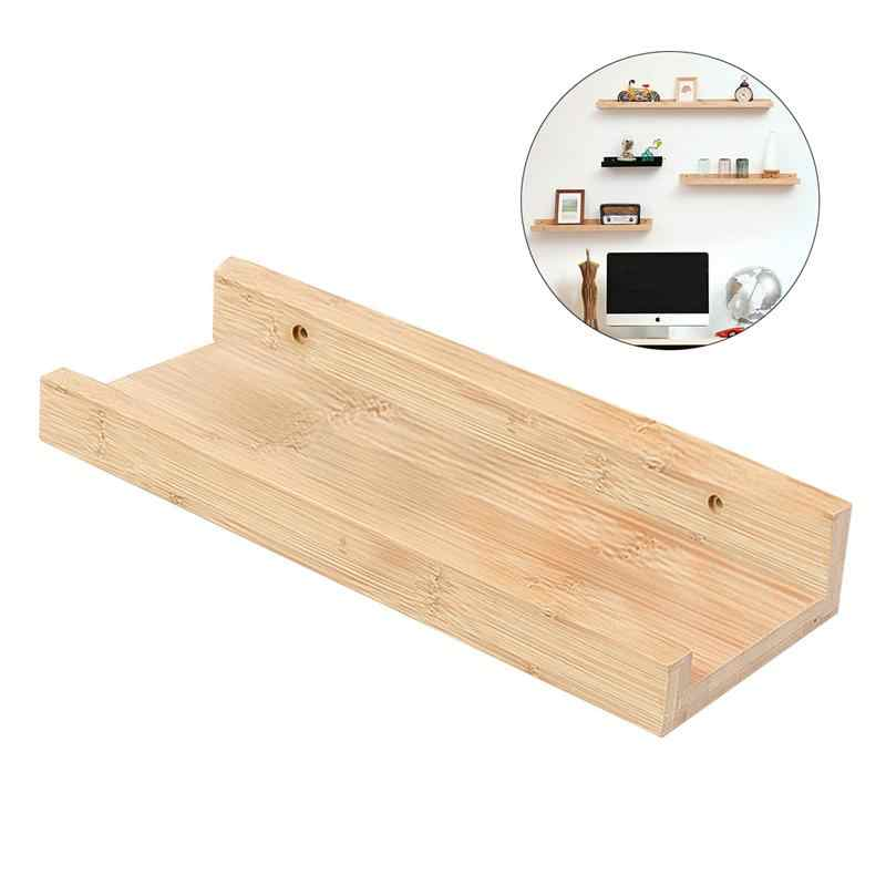 Bamboo Wall Shelf Floating Ledge Storage Wall Shelves Rack Wall Art for Home Decor