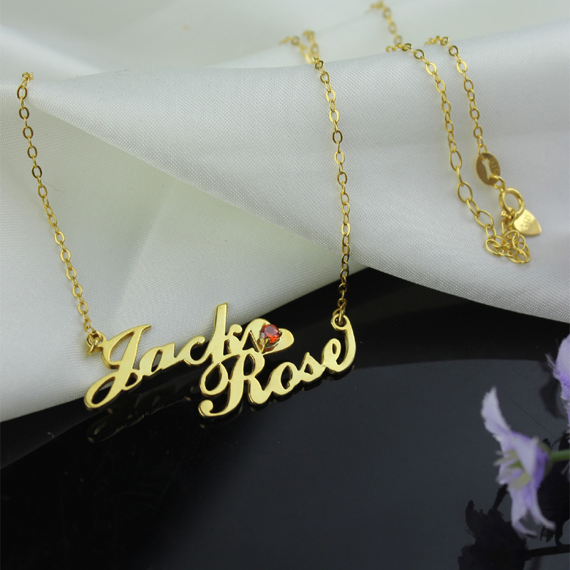 Women s Custom Double Name Necklace Silver Choker Chain Birth Stone Couple  Necklaces Nameplate Suspensions Jewelry for Lovers-in Pendant Necklaces  from ... 55bb1ec5b1
