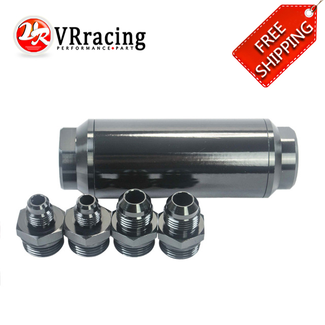VR RACING FREE SHIPPING 40micron Universal auto Fuel filter Balck with 2pcs AN6 adaptor fittings 2pcs