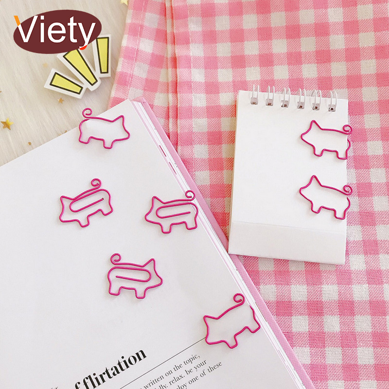 10X Pig Metal Paper Clips Bookmark File Photo Clip Office School Supplies