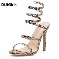 DiJiGirls 2019 Popular High Heel Women Sandals Cool Summer Snake Wrap Around The Strap Noble Fine Heel High Heel Woman Shoes