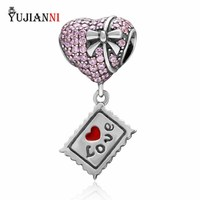 925 Sterling Silver Heart Charm With Clear Pink CZ Valentine S Day Gift Fit European Brand