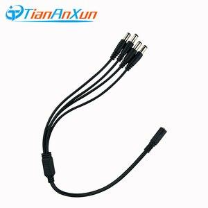 TIANANXUN 1-4 DC кабель-разветвитель питания 1 гнездо на 4 выхода для камеры видеонаблюдения 5,5 мм/2,1 мм аксессуары для системы видеонаблюдения