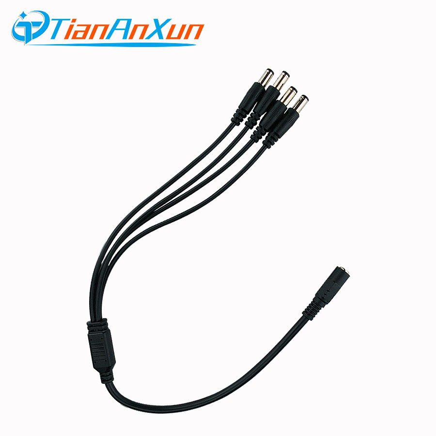 TIANANXUN 1 To 4 DC Power Splitter Cable 1 Female To 4 Output Male For CCTV Camera 5.5mm / 2.1mm Surveillance System Accessories