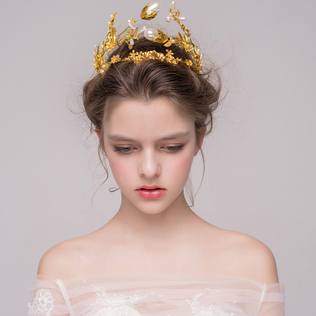 Baroque Gold Beaded Crown Wedding Tiara Bridal Hair Accessories Golden Flower Pearl Headband Women Headpiece