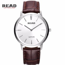 Creative minimalist Steel leather normal waterproof READ watch men and women couple watch fashion business casual
