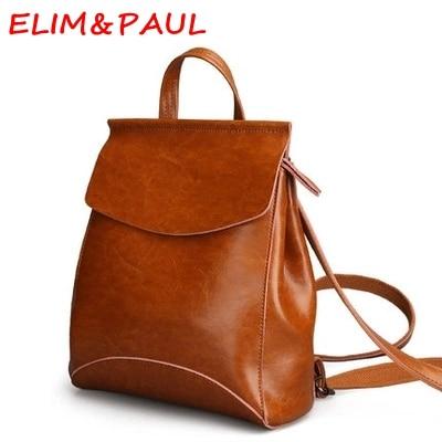 ed88b61005 US $37.98  ELIM & PAUL Womens Backpack Bag Borchiata Zaino Zaini Firmati  Donne di Alta Qualità Pu Schoole Zaino Per Bambini Ragazza in ELIM & PAUL  ...