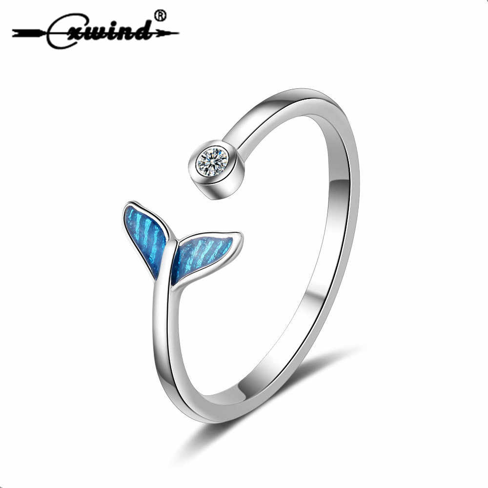 Cxwind Fashion Crystal Mermaid Tail Rings for Women Knuckle  Wonderful Gift For Girls Kids Lady's Gift Finger Whale Ring