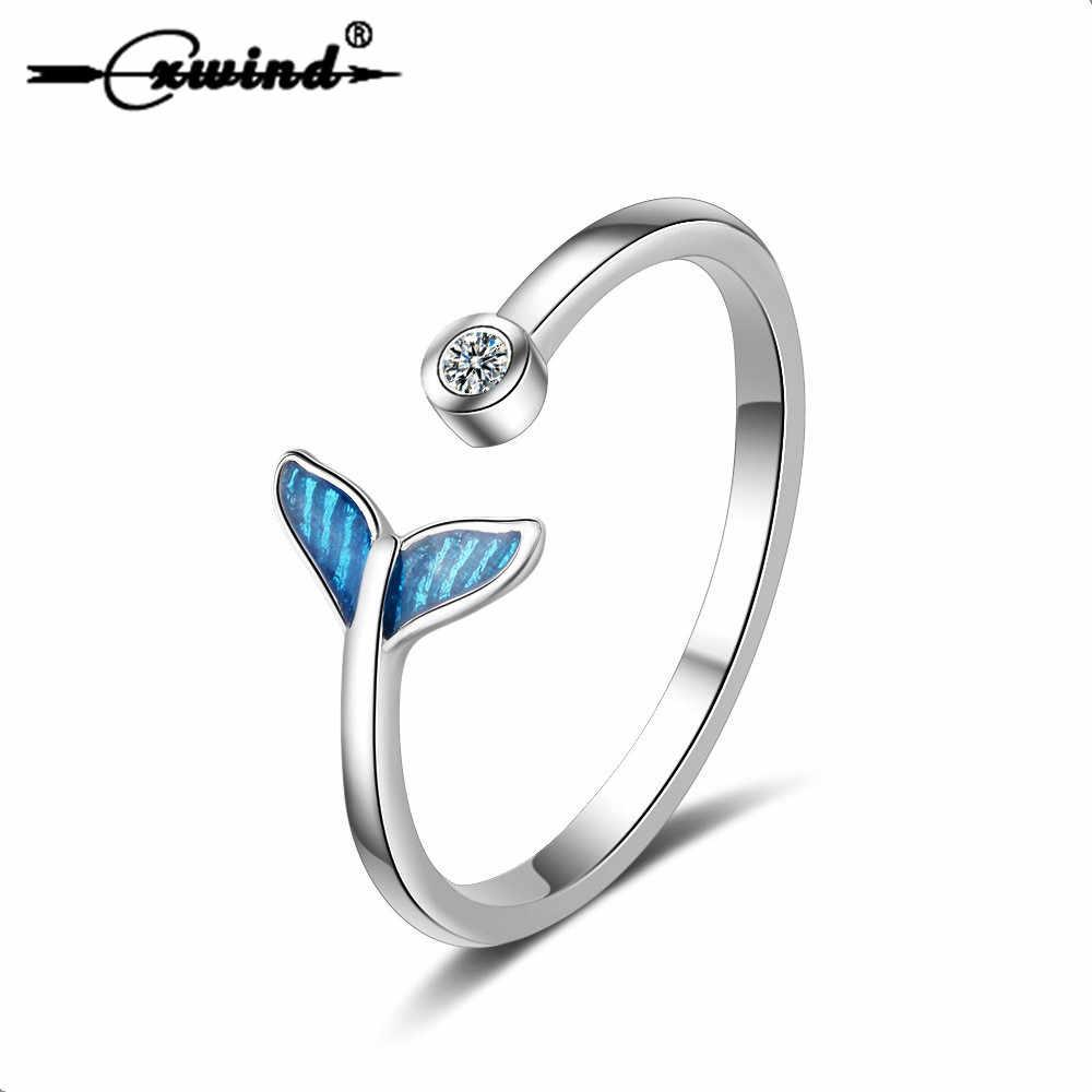 Cxwind แฟชั่นคริสตัล Mermaid TAIL แหวน Knuckle ของขวัญที่ยอดเยี่ยมสำหรับเด็กผู้หญิงเลดี้ของขวัญนิ้วมือปลาปลาวาฬแหวน