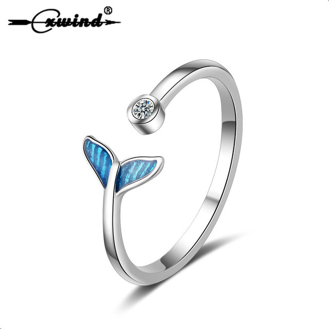 Cxwind Silver Fashion Crystal Mermaid Tail Rings for Women Knuckle Wonderful Gift For Girls Kids Lady's Gift Finger Whale Ring