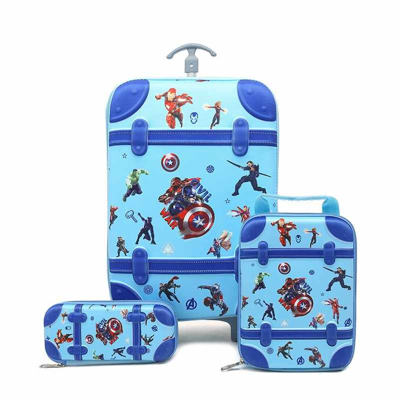 3PCS/set HOT Batman cartoon students trolley case kids Climb stairs Luggage Travel stereo suitcase The Avengers child pencil box